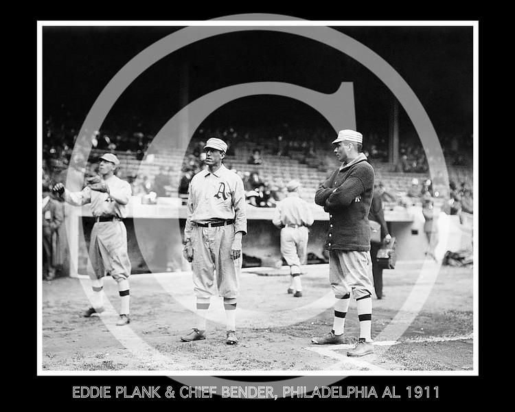 """Charles Albert """"Chief"""" Bender - Eddie Plank & Charles Albert """"Chief"""" Bender, Philadelphia Athletics  AL, 1911."""