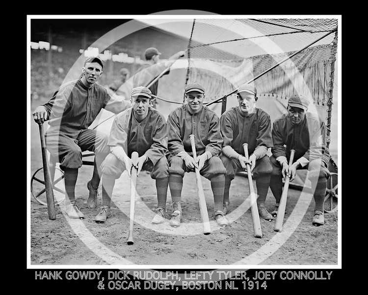Dick Rudolph - Hank Gowdy, Dick Rudolph, Lefty Tyler, Joey Connolly, Oscar Dugey, Boston Braves NL, 1914.
