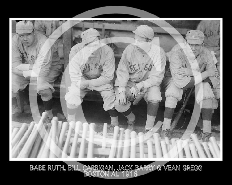 Bill Carrigan - Babe Ruth, Bill Carrigan, Jack Barry, & Vean Gregg, Boston Red Sox AL 1916.