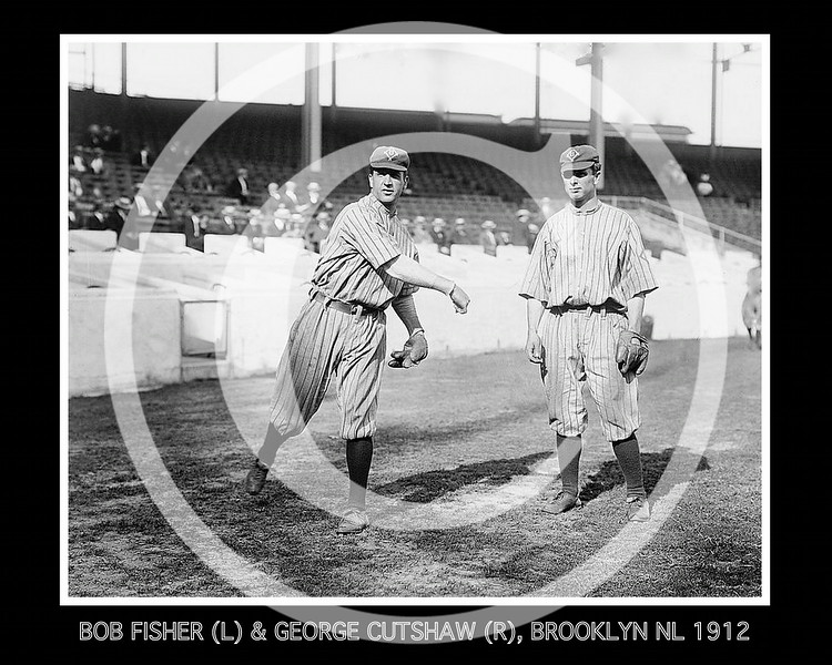Bob Fisher & George Cutshaw, Brooklyn Trolley Dodgers NL, at the Polo Grounds, NY 1912.