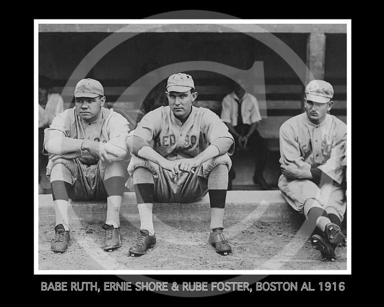 Rube Foster - Babe Ruth, Ernie Shore & Rube Foster, Boston Red Sox AL,1917.
