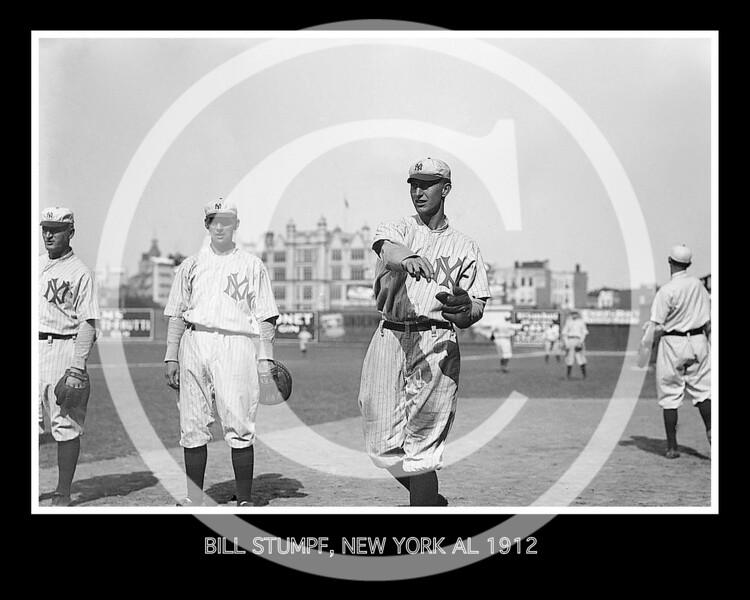 Bill Stumpf, New York Highlanders AL, at Hilltop Park NY, 1912.