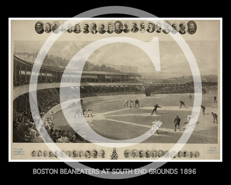 Boston Beaneaters team playing at South End Grounds as spectators watch from the grandstand; inset with photographic portraits of baseball players and officialsl at the top and bottom 1896.