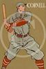 Baseball player from Cornell University holding bat 1908.