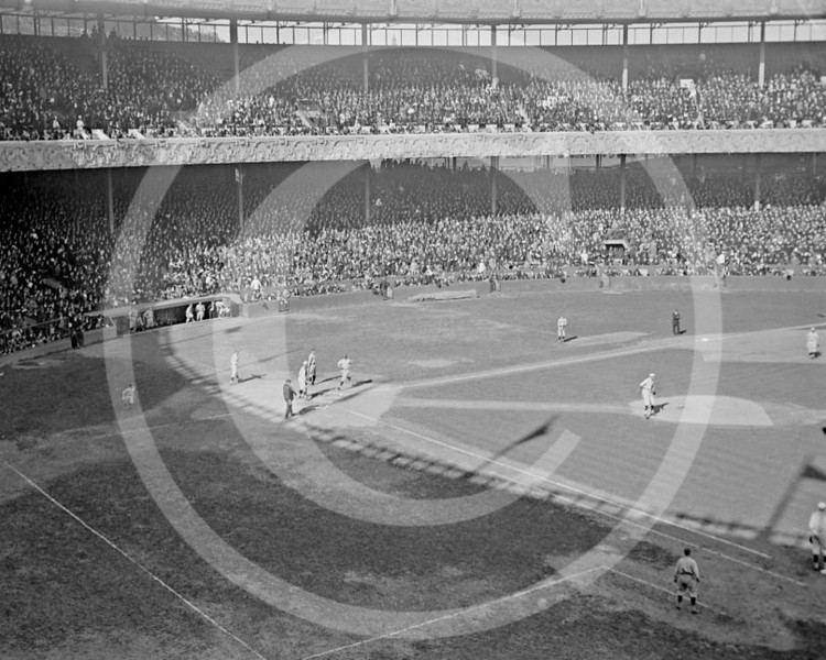 Elmer Miller, New York Yankees AL, scores in the New York Yankees AL v New York Giants NL, World Series game at the Polo Grounds, 5 October 1921.