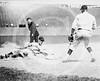 Chick Fewster, Cleveland Indians AL, slides safely into 3rd base during baseball game against Washington Senators AL, 12 July 1924.