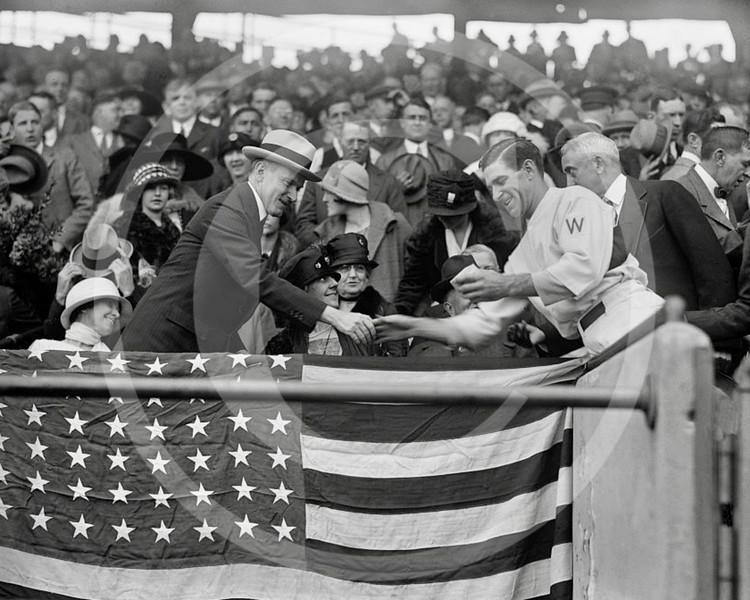 "Calvin Coolidge, President of the United States & Stanley Raymond ""Bucky"" Harris, Washington Senators AL, 4 October 1924."