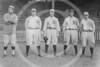 Elmer Miller - Don Brown, Tim Hendryx, Gene Leyden, Elmer Miller, Hugh High, New York Yankees AL outfielders 1915.