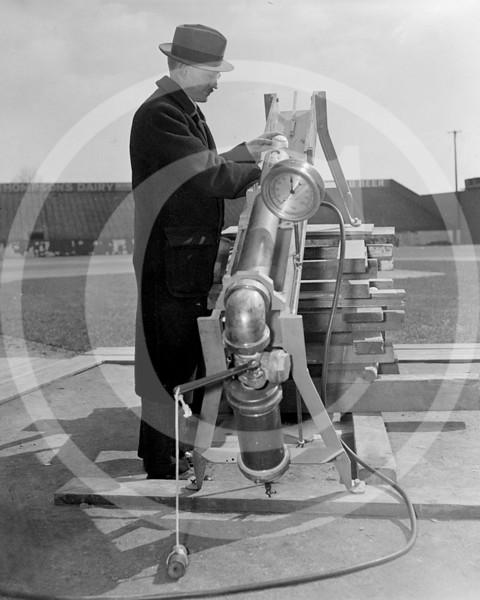 Baseballs undergo outdoor testing. Washington, D.C., Mar. 7. 1938.