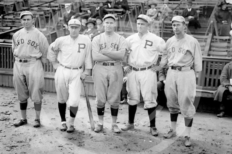 Ed Burns - Duffy Lewis, Dutch Leonard, and Harry Hooper of the Boston Red Sox AL. Ed Burns and Gavvy Cravath of the Philadelphia Phillies NL, 11 October 1915.