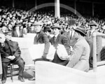 George M. Cohan at  a baseball game to raise funds for survivors of the RMS Titanic disaster, the Polo Grounds, New York, 21 April 1912.
