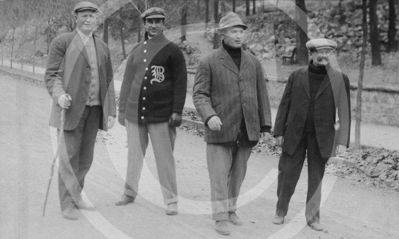 Cy Young, Jake Stahl, Bill Carrigan and Michael T. McGreevy, Boston Red Sox AL. Spring training 1912.