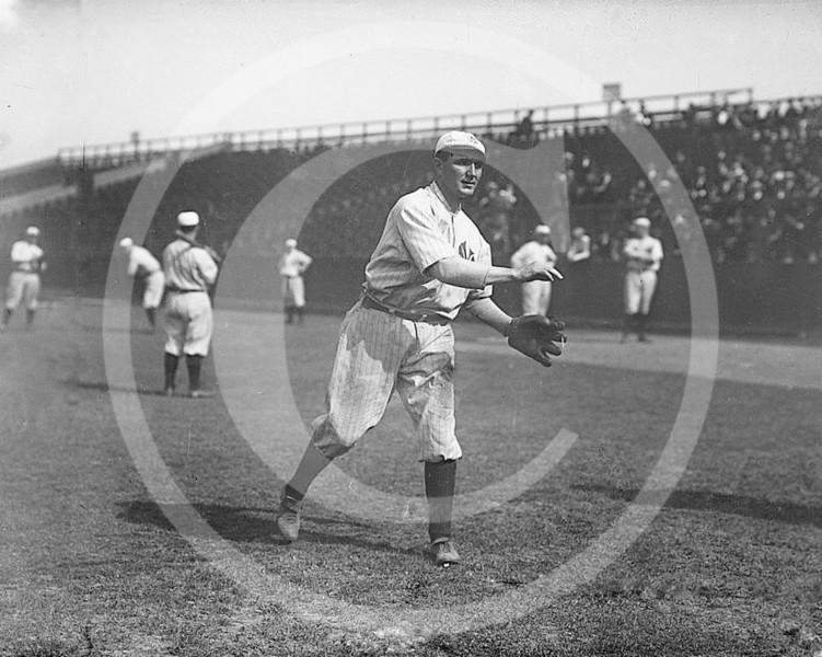 Albert Cozy Dolan, New York Highlanders AL, at Hilltop Park NY, 1912.