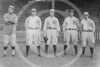 Don Brown, Tim Hendryx, Gene Leyden, Elmer Miller, Hugh High, New York Yankees AL outfielders 1915.