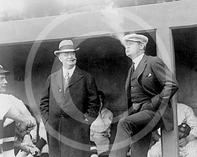Ban Johnson & Babe Ruth, New York Yankees AL, Washington April 1922.