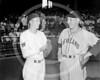 Bob Feller - Bucky Jacobs, rookie Washington's Senators AL from Richmond, VA. and Bob Feller, Cleveland Indians AL, 2 August 1937.