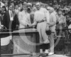 Calvin Coolidge - Walter Johnson, Washington Senators AL & Calvin Coolidge, President of the United States, shaking hands  at Griffith Stadium 1923.