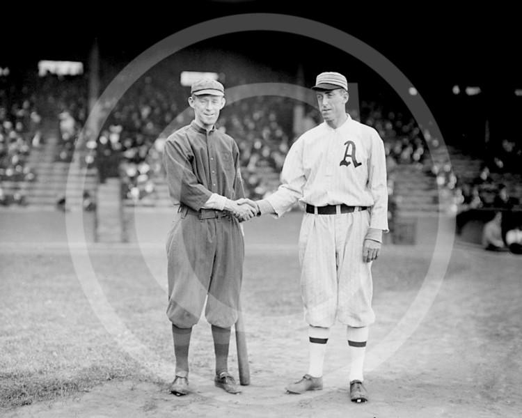 Johnny Evers, Boston Braves NL & Eddie Plank, Philadelphia Athletics AL, 1914.