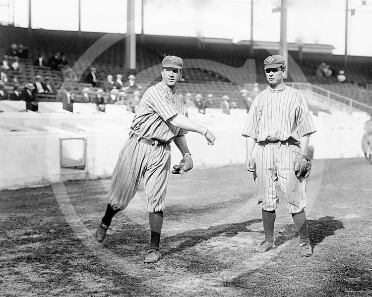 George Cutshaw - Bob Fisher & George Cutshaw, Brooklyn Trolley Dodgers NL, at the Polo Grounds, NY 1912.
