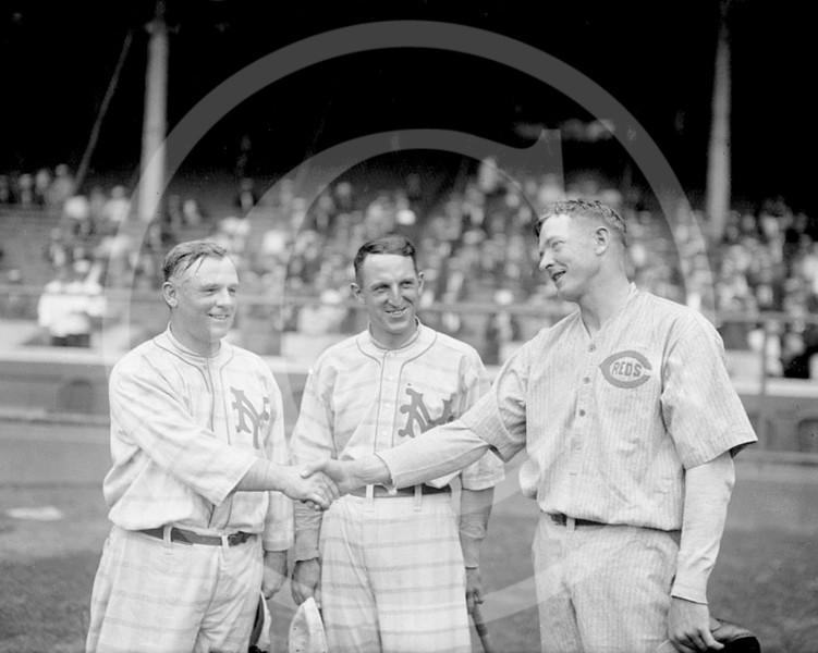 Christy Mathewson - John McGraw & Buck Herzog, New York Giants NL, and Christy Mathewson, Cincinnati Reds NL, 1916.