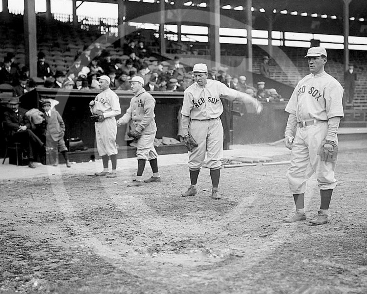 Charles Heinie Wagner - Duffy Lewis, Larry Gardner, Tris Speaker and Charles Heinie Wagner, Boston Red Sox AL, 1912.