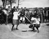 New York Female Giants - Miss McCullum catcher and Miss Ryan at bat, 11 July 1913.