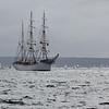 """Le """"Staatsraad Lehmkuhl"""", trois-mâts barque norvégien, dans la rade de Brest."""