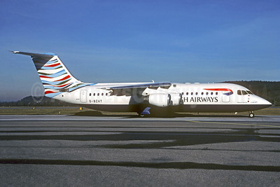 British Airways-CityFlyer Express BAe RJ100 (146-RJ100) G-BZAT (msn E3320) (Waves of the City - USA) ZRH (Christian Volpati Collection). Image: 935980.