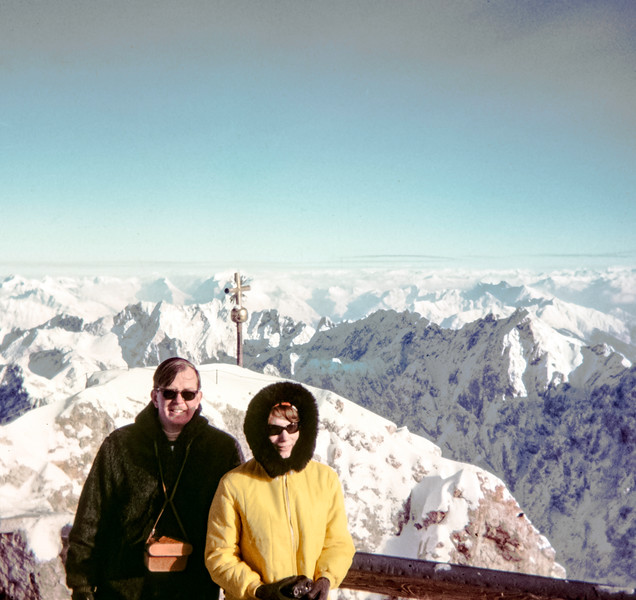 """Barbara (could be an Eskimor) and Peter and the Austrian Alps."" Zugspitze, Germany 1968"
