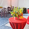 Red burlap is a good texture for a party like this.