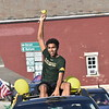 GREG SUKIENNIK -- MANCHESTER JOURNAL<br /> Burr and Burton Academy senior Itembe Matiku rides in the Class of 2020's car parade through the streets of Manchester on May 26, 2020