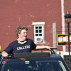 GREG SUKIENNIK -- MANCHESTER JOURNAL<br /> A Burr and Burton Academy senior enjoys the Class of 2020's car parade through the streets of Manchester on May 26, 2020