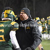 GREG SUKIENNIK -- MANCHESTER JOURNAL<br /> Burr and Burton Academy coach Jason Thomas congratulates Mark Carthy after BBA's 63-14 win over Fair Haven in the Vermont Division 2 championship game on Saturday, Nov. 10.