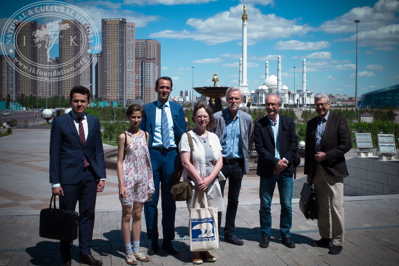 """Swedish representatives just outside the entrance to The National Museum of Kazakhstan as part of the seminar """"The Linnaeus Apostles Bridge Builder Expeditions - Sweden, Kazakhstan, Kyrgyzstan & Russia. Including Launch of The Explorer's Field Guide""""."""