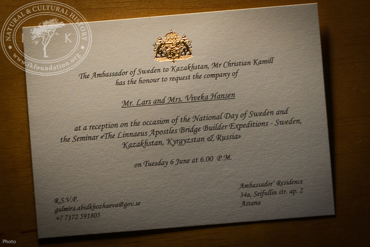 """Invitation card to the Ambassador's Residence as part of """"The Linnaeus Apostles Bridge Builder Expeditions - Sweden, Kazakhstan, Kyrgyzstan & Russia. Including Launch of The Explorer's Field Guide""""."""