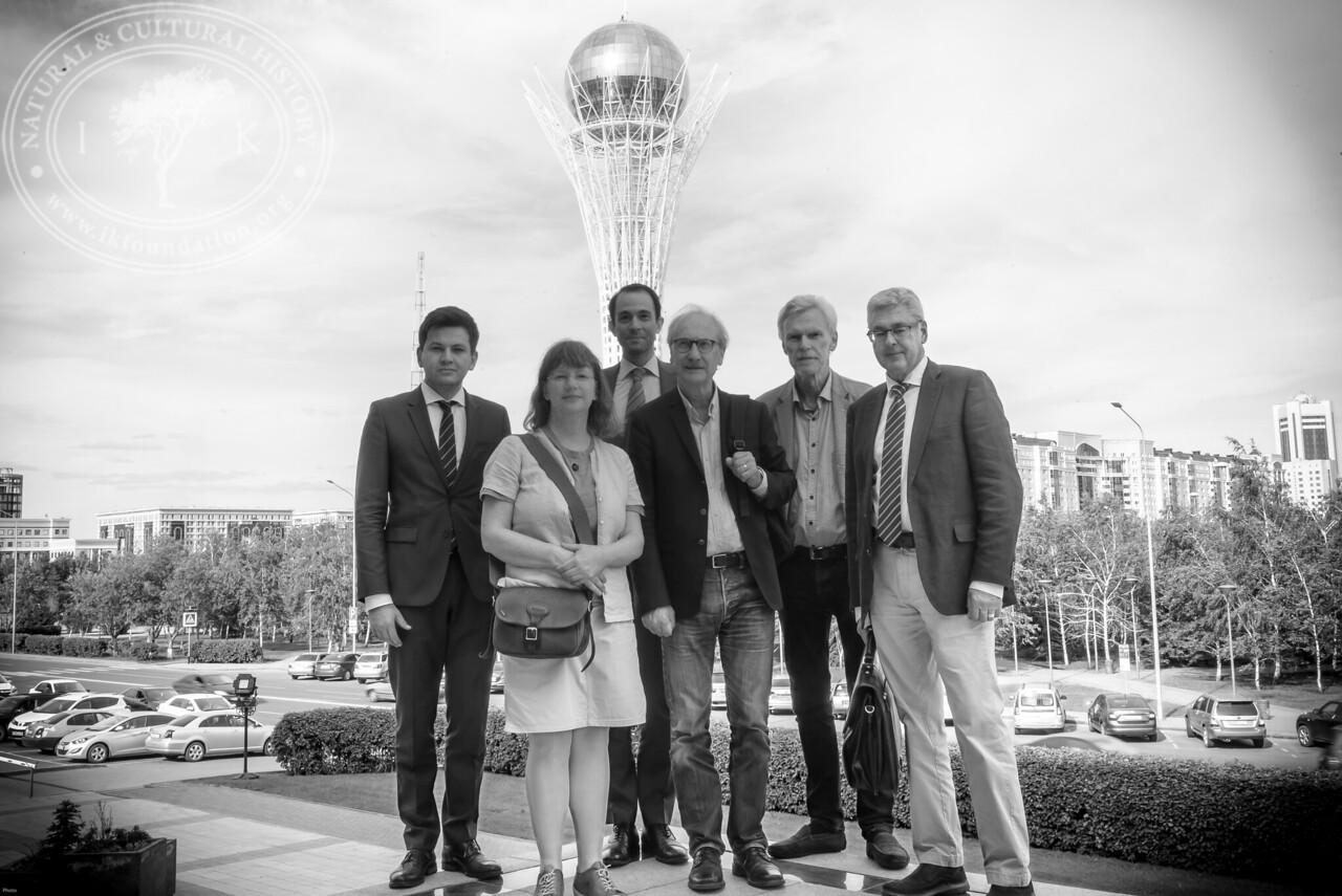 """Swedish representatives [ Ruslan Urazalinov and Christian Kamill from the Embassy of Sweden, Viveka Hansen from The IK Foundation,  Bengt Eriksson and Lars Bergman from The Royal Society for Swedish Culture Abroad, Bo Ralph from The Swedish Academy] just outside the entrance  to The National Academic Library of Kazakhstan as part of the seminar """"The Linnaeus Apostles Bridge Builder Expeditions - Sweden, Kazakhstan, Kyrgyzstan & Russia. Including Launch of The Explorer's Field Guide""""."""