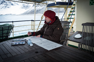 Field artist Måns Sjöberg, documenting the expedition, Svalbard, September 2016.
