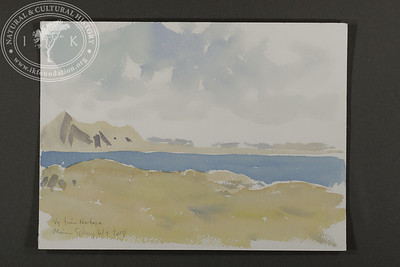 """Panorama sketch at Nordøya. Prins Karls Forland in the background. 