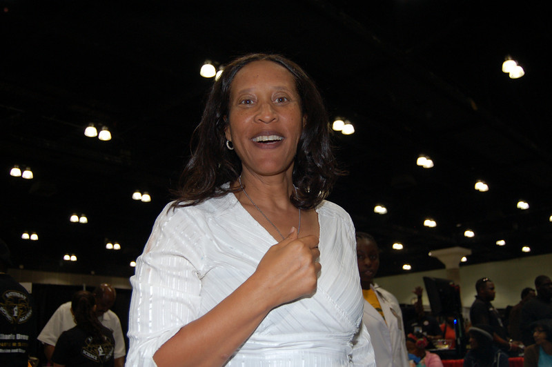 Sharon Edwards, who put together an exciting Health Sports and Fitness Pavilion! <br /> <br /> Photo by Isidra Person-Lynn