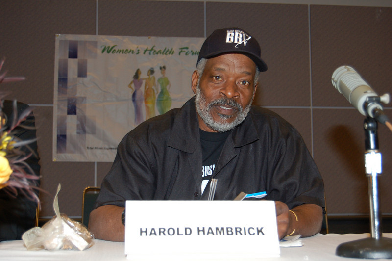 President of the Expo, Harold Hambrick, speaks at the KJLH Women's Health Forum before the Expo opened on Saturday.  Congratulations to Harold that in these tough economic times, the show STILL went on!   <br /> <br /> Photo by Isidra Person-Lynn