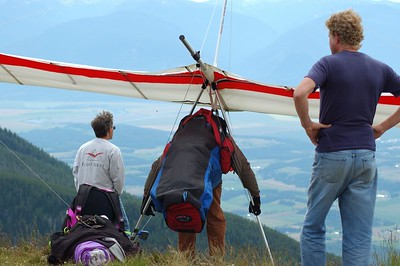 Mark S gets ready to launch first while Mark T and Ian watch.