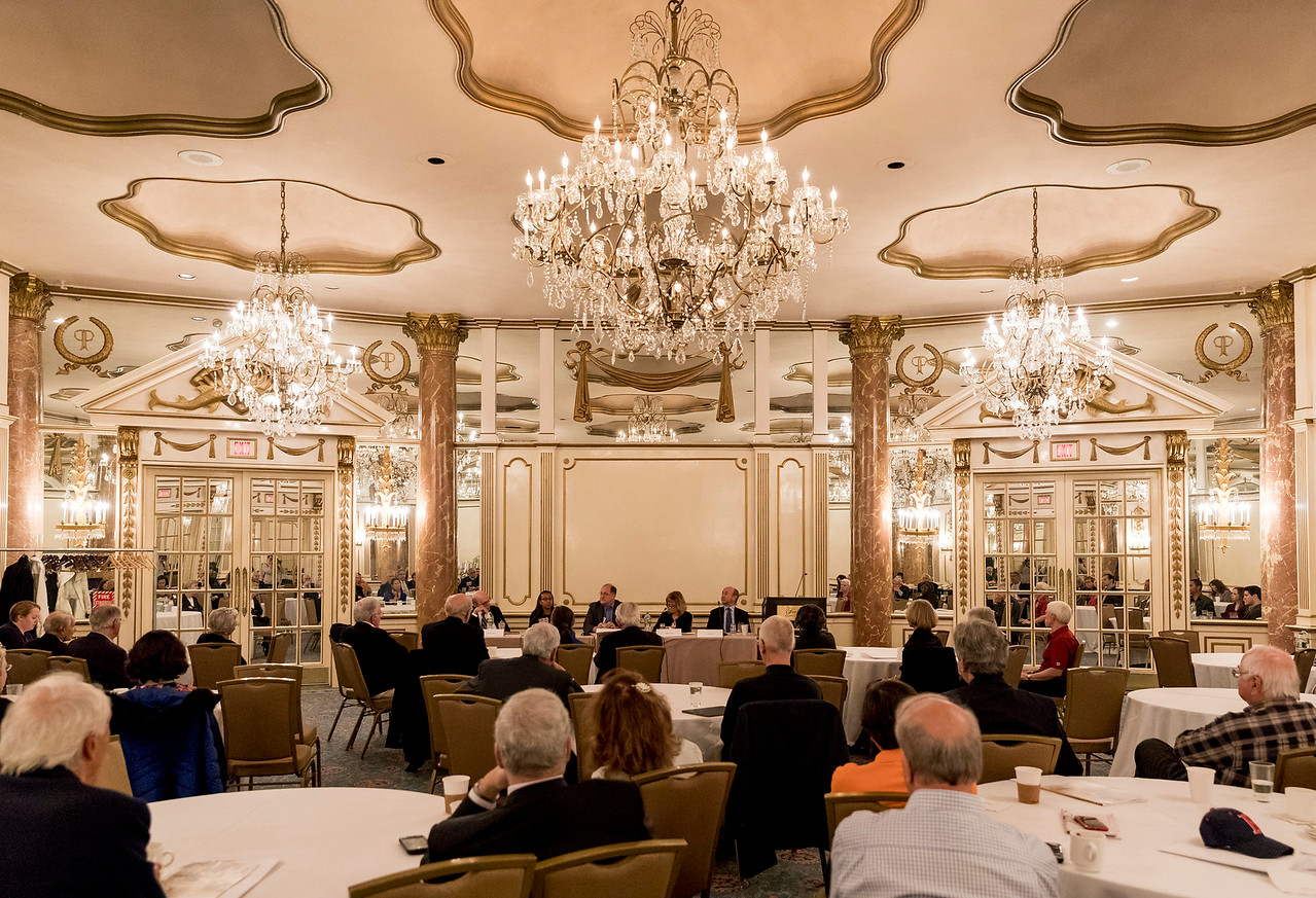 "November 4, 2017 -- Boston College Law School Reunion Weekend at the Fairmont Coplely Hotel, Boston, MA. Election panel in the Venetian Room. Photo by Caitlin Cunningham ( <a href=""http://www.caitlincunningham.com"">http://www.caitlincunningham.com</a>)."