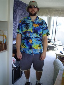 Danno proudly displays his party attire. Can you not totally see him wearing this as a tourist in Flaaarida?