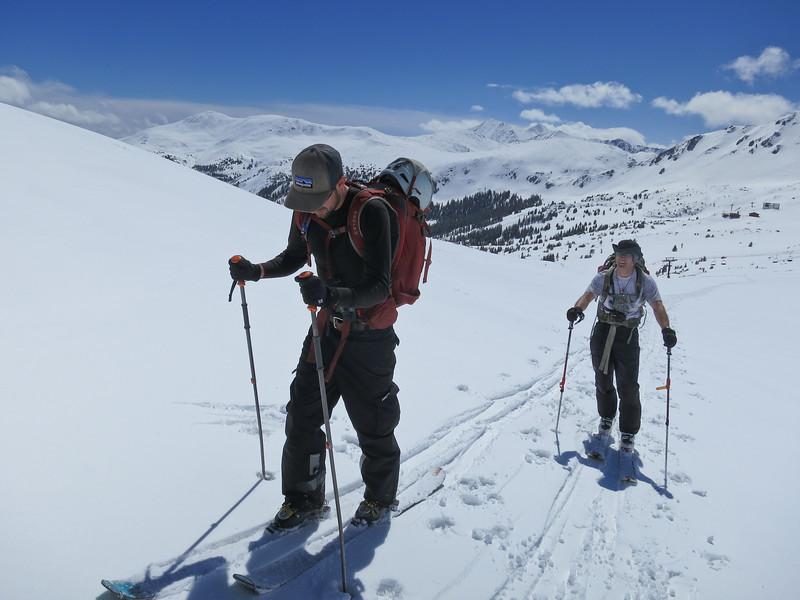 skiining up to the ridge line