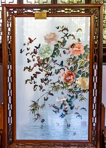 Double sided silk embroidery screen of peonies & one hundred butterflies ~ 1950