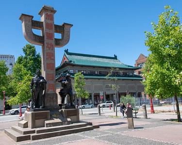 Chinatown Memorial Monument - RR worker/WWII veteran