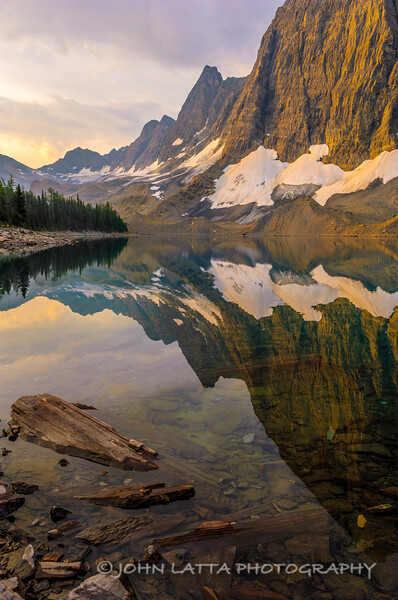 Reflection of the Rock Wall in Floe Lake