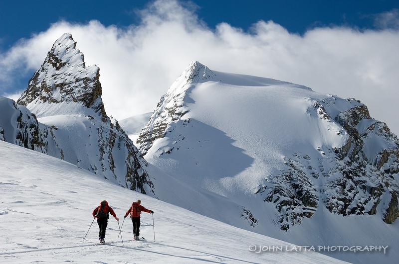 Skiing the Uptrack Below Sceptre Spire