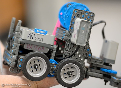 Every robot is different as BCOE representatives compete with newly purchased robots as they learn how things work before teaching students how to use them during this coming school year Friday Aug. 3, 2018.  (Bill Husa -- Enterprise-Record)