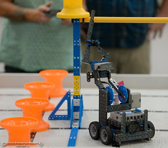 BCOE representatives compete with newly purchased robots as they learn how things work before teaching students how to use them during this coming school year Friday Aug. 3, 2018.  (Bill Husa -- Enterprise-Record)